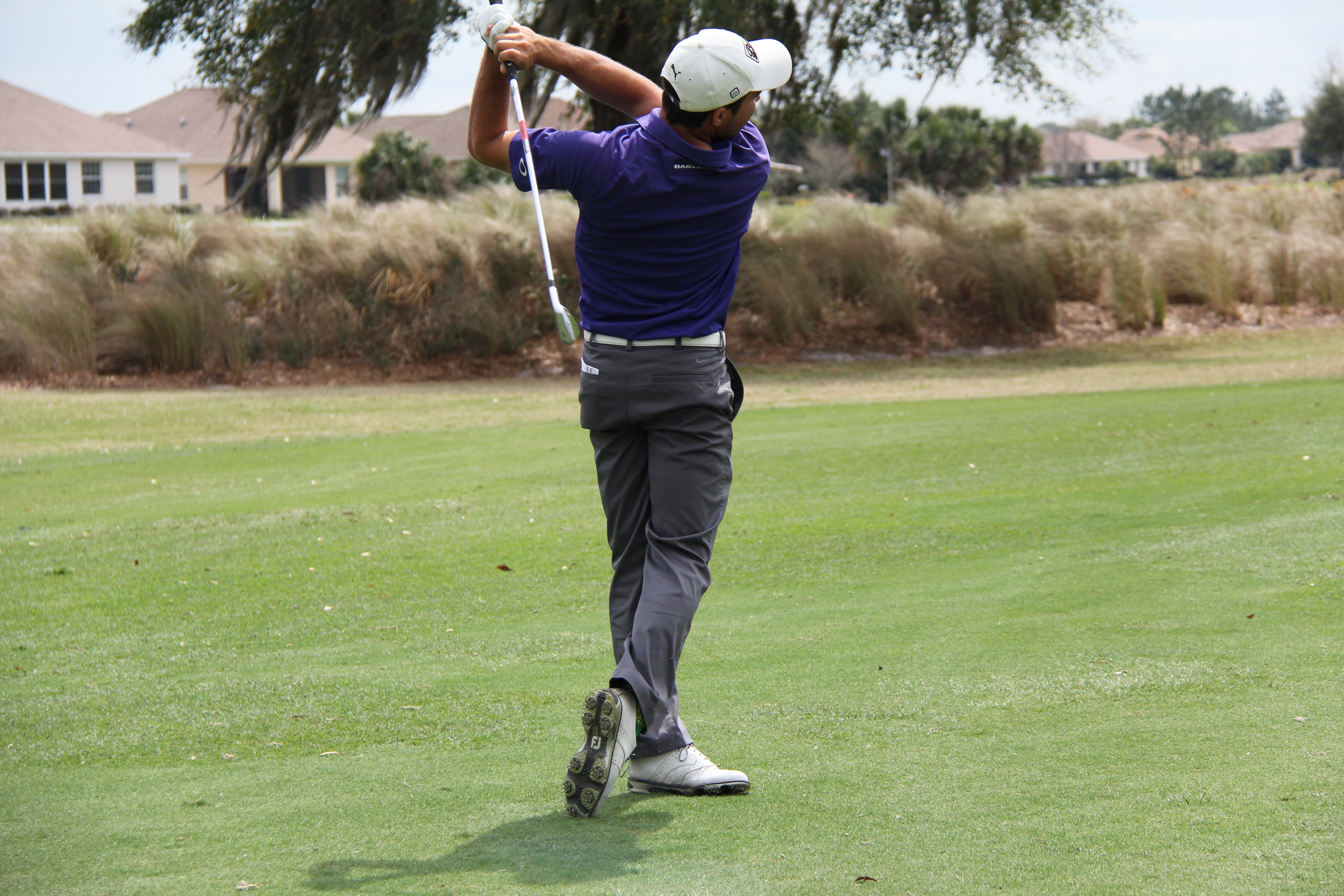 Golf swing during the Ocala Open golf tournament at Candler Hills Golf Club